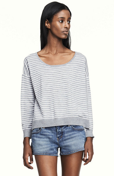 Sheer Back Stripe Sweater