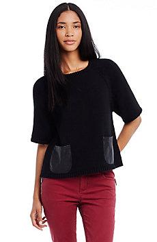 Leather Pocket Swing Sweater
