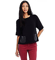 Leather Pocket Swing Sweater