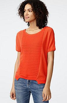 Short-Sleeve Open-Knit Sweater