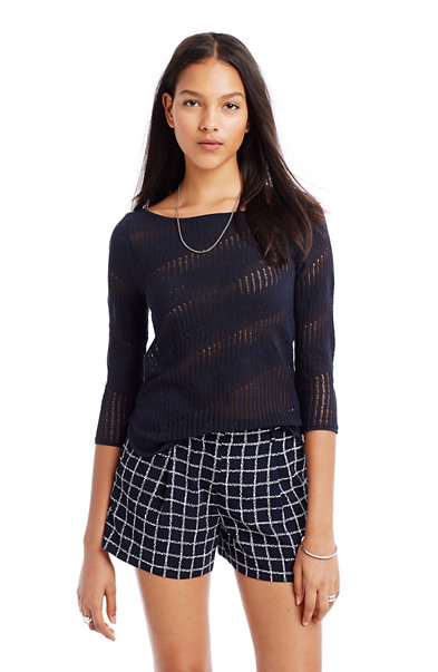 Open Weave Boatneck Sweater