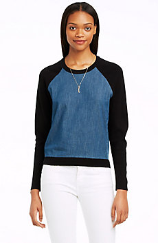 Colorblock Chambray Baseball Sweater
