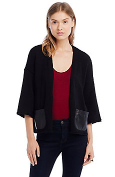 Leather Pocket Swing Cardigan