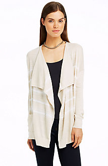 Featherweight Stripe Open Cardigan