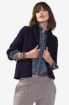 Draped Shawl-Collar Sweater