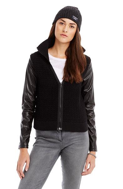 Leather Sleeve Jacket