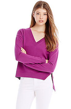 Side-Zip Merino V-neck