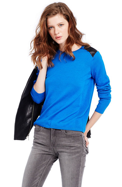 Leather Inset Merino Sweater