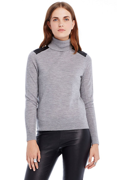 Leather Inset Merino Turtleneck