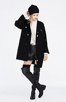 Cutout Dot Boiled Wool Coat