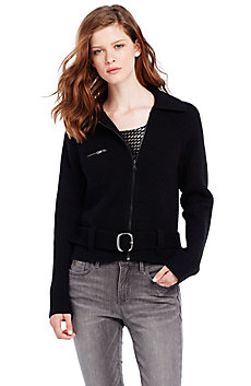 Cropped Moto Sweater Jacket