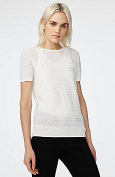 Short-Sleeve Linen Sweater