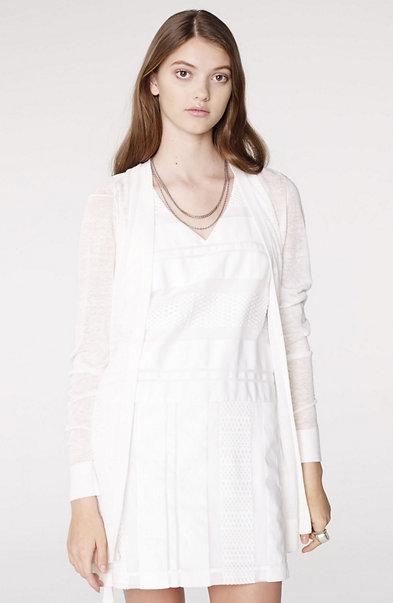 Pleated Linen Blend Cardigan