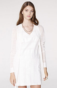 Pleated Linen Blend Cardigan