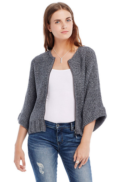 Dolman Sleeve Zip Cardigan