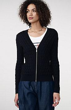 Basketweave Textured Zip-Up