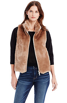 Ribbed Faux Fur Vest