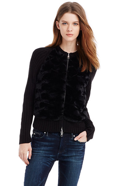 Faux-Fur Sweater Jacket