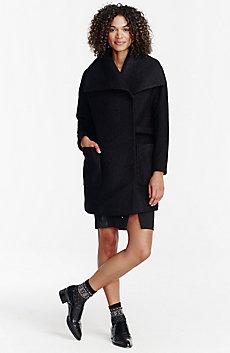 Textured Wool Wrap Coat