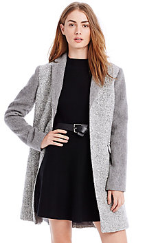 Grey Colorblock Wool Coat