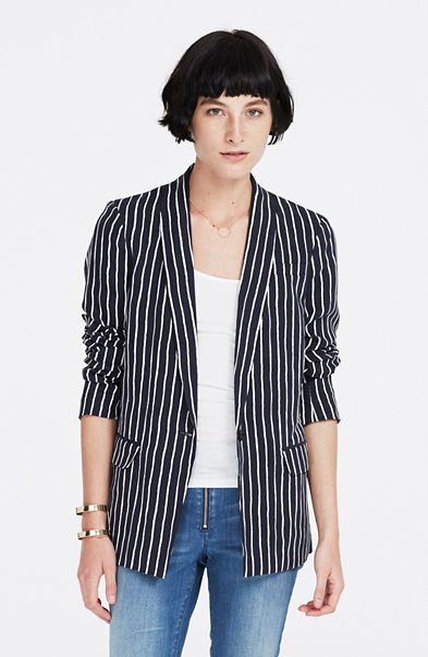 Striped Stretch Linen Blazer