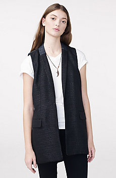 Pieced Tweed Longline Vest