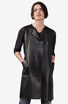 Faux-Leather Longline Vest
