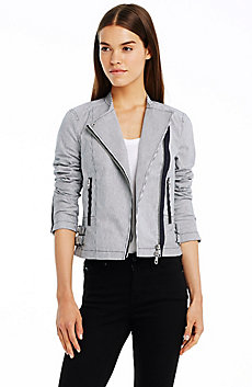 Stripe Biker Jacket