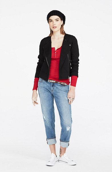 Tweed & Faux Leather Jacket