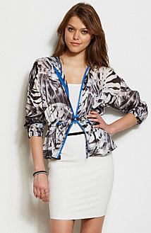 Printed Cinch Waist Hooded Jacket<br>Online Exclusive