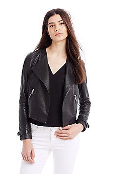 Draped Leather Moto Jacket