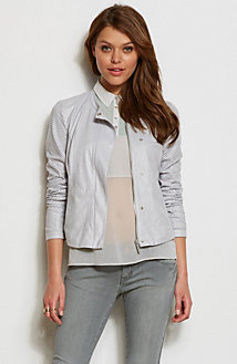 Perforated Faux Leather Jacket