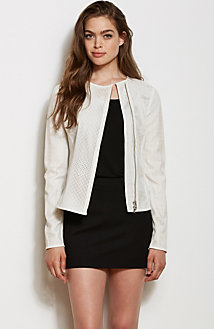 Perforated Faux Leather Moto Jacket