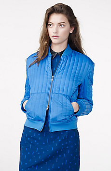 Channel-Quilted Bomber