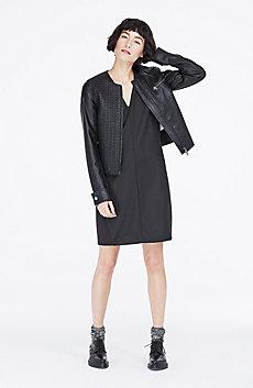 Herringbone Faux-Leather Jacket
