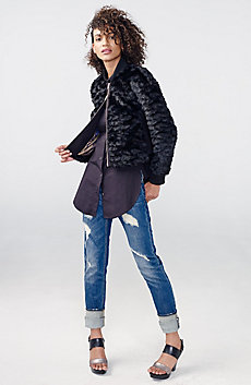 Split-Side Faux-Fur Jacket