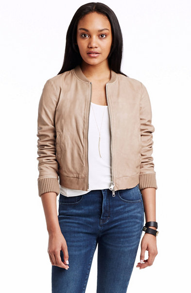 Cropped Leather Bomber