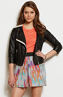 Contrast Leather Moto Jacket