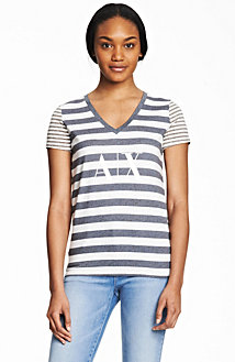 Mixed Stripe Logo Tee