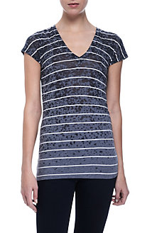 Striped Burn Out V-Neck Tee