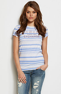 Striped Lurex Logo Tee<br>Online Exclusive