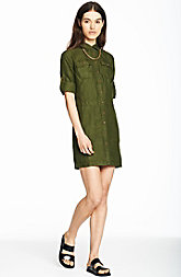 Linen Utility Shirtdress