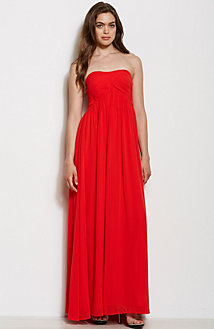 Rouched Strapless Maxi Dress