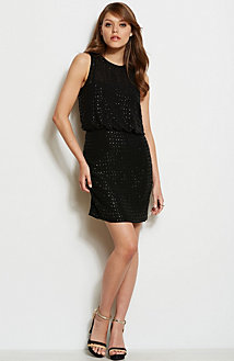 Open Back Beaded Blouson Dress