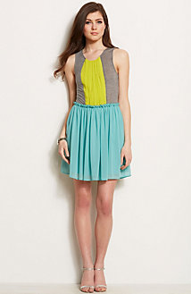 Colorblock Fit and Flare Dress<br>Online Exclusive