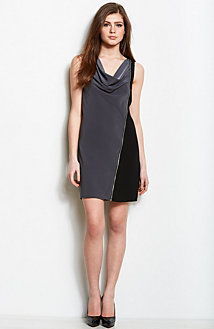 Zippered Cowl Neck Dress