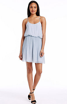 Pleated Herringbone Dress