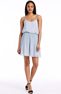 Pleated Herringbone Dress<br> Online Exclusive<br>