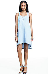 Chambray Hi Low Tank Dress