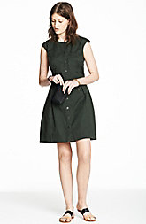 Button Front Stretch Twill Dress